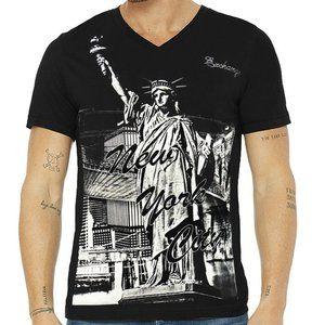 EXCHANGE MEN'S NEW YORK CITY BLACK V-NECK T-SHIRT